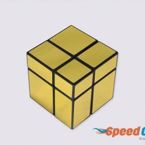 Cubo Rubik Mirror 2x2 Dorado Base Negra Shengshou